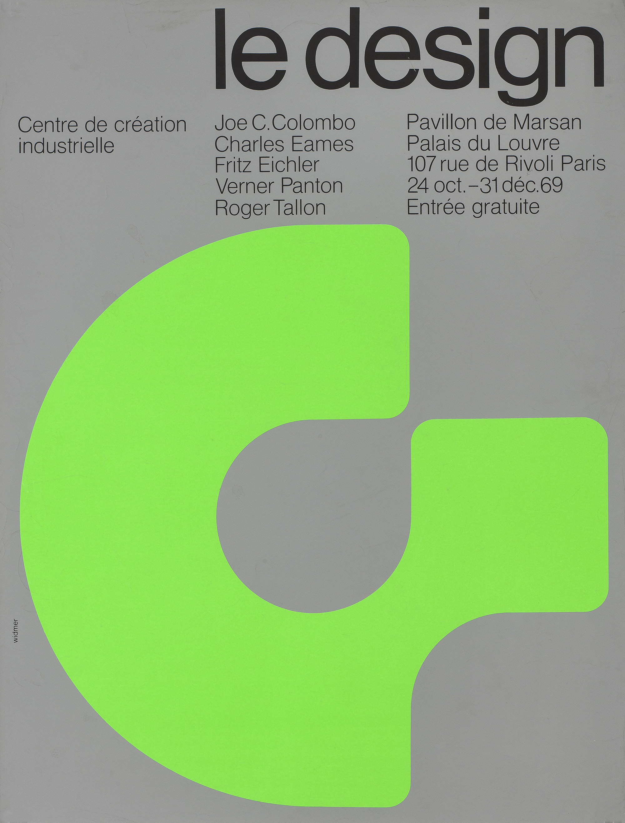 Charles Eames Poster The Design. 24 October to 31 December 1969 »Jean Widmer 1969. Paper, color screen printing. Sponsored by the Industrial Design Center
