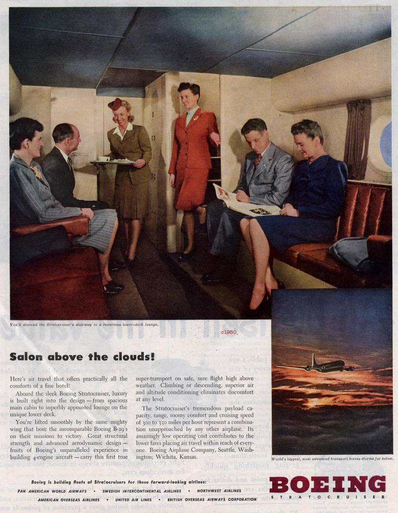Salon above the clouds, Boeing 1950 for major airlines