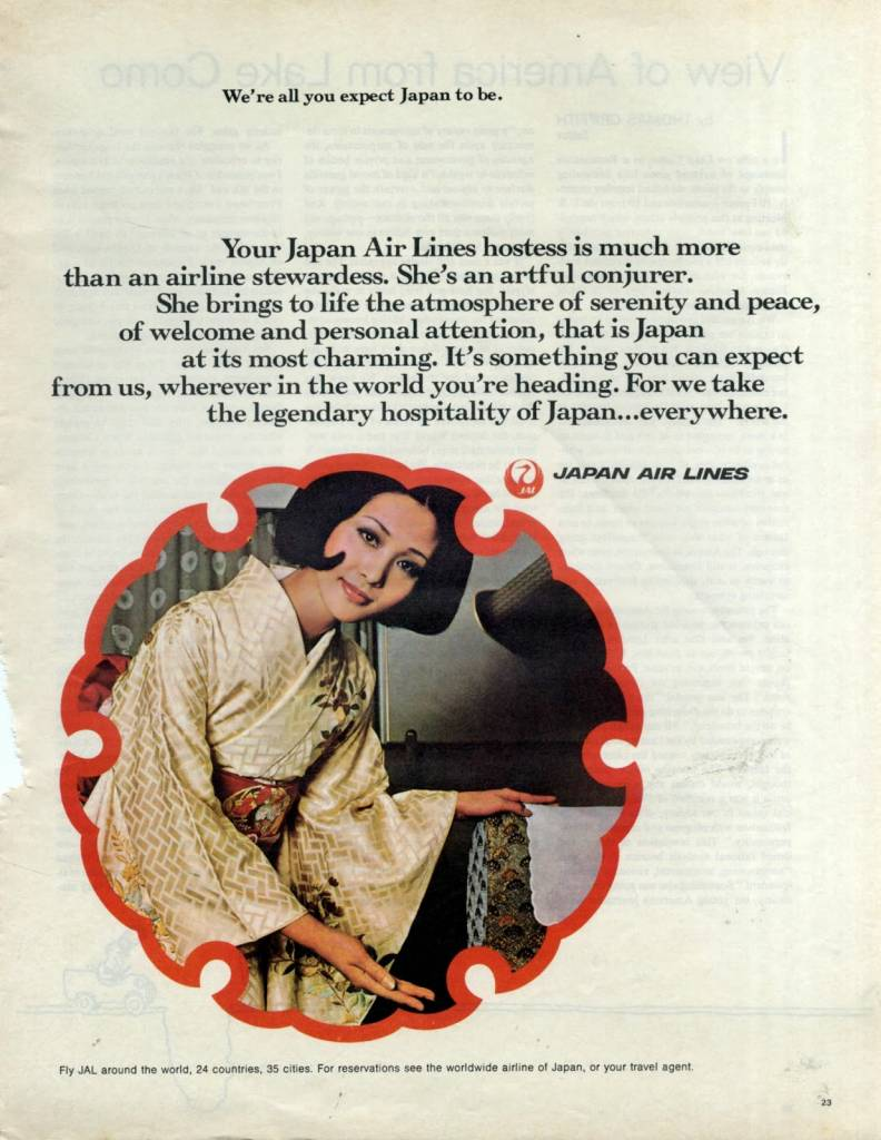 She's an artful conjuror, Japan Air Lines, 1970