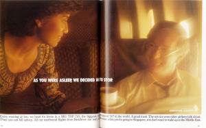 Singapore Airlines, As you were asleep we decided not to stop, April 1986