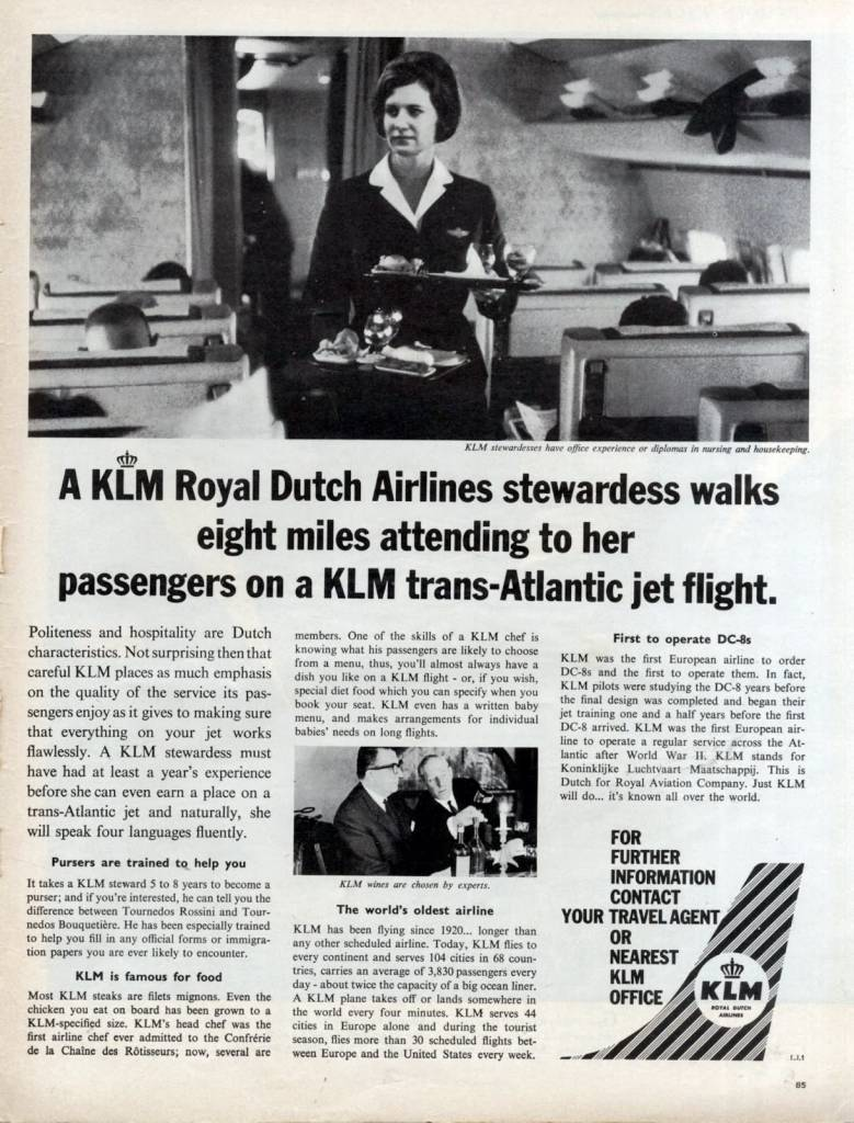 This KLM Stewardess walks 8 miles, June 1963