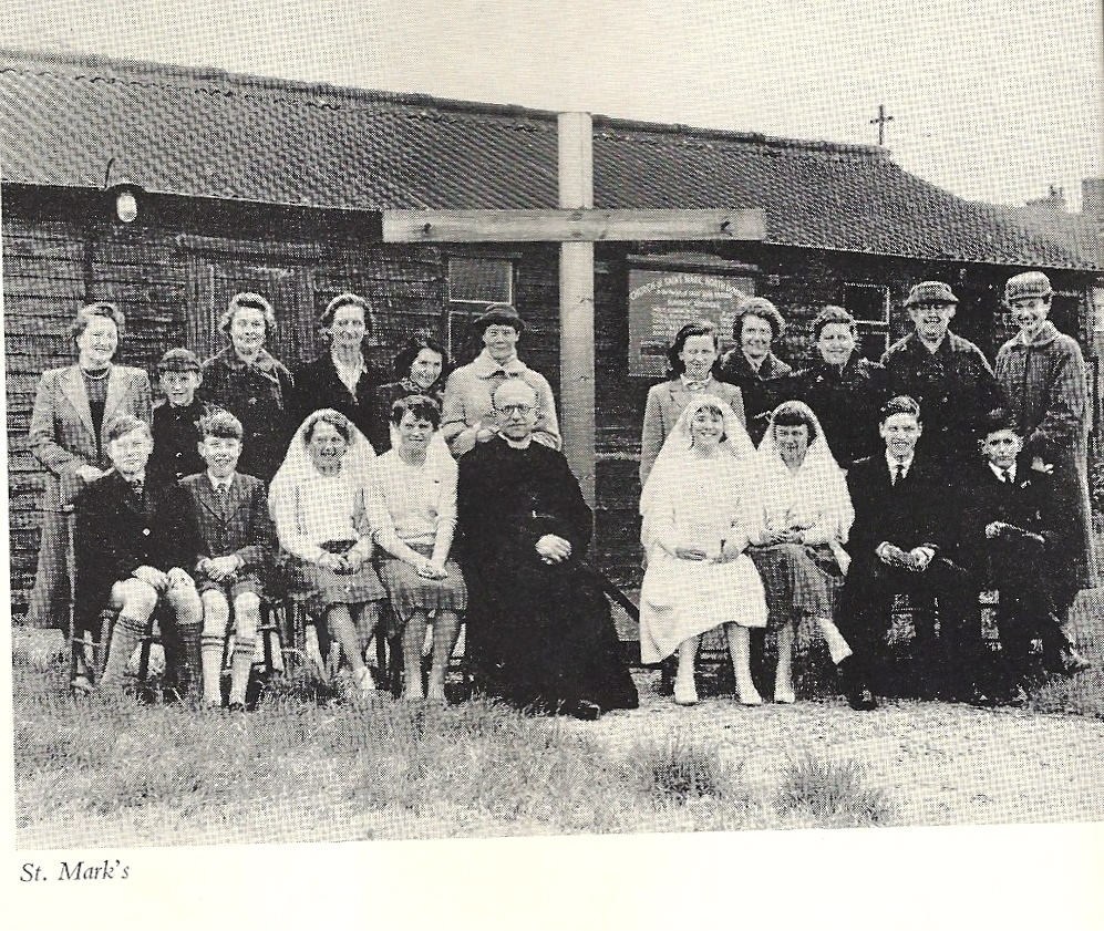 Brine family photo outside St Marks Church before it was rebuilt into the shape of a Nissen Hut, Excalibur Estate, Catford, London