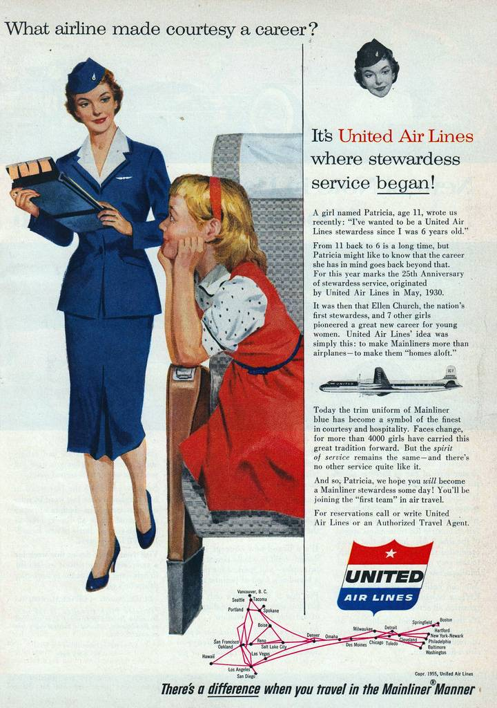 United Air Lines What Airline made Courtesy a career 1955