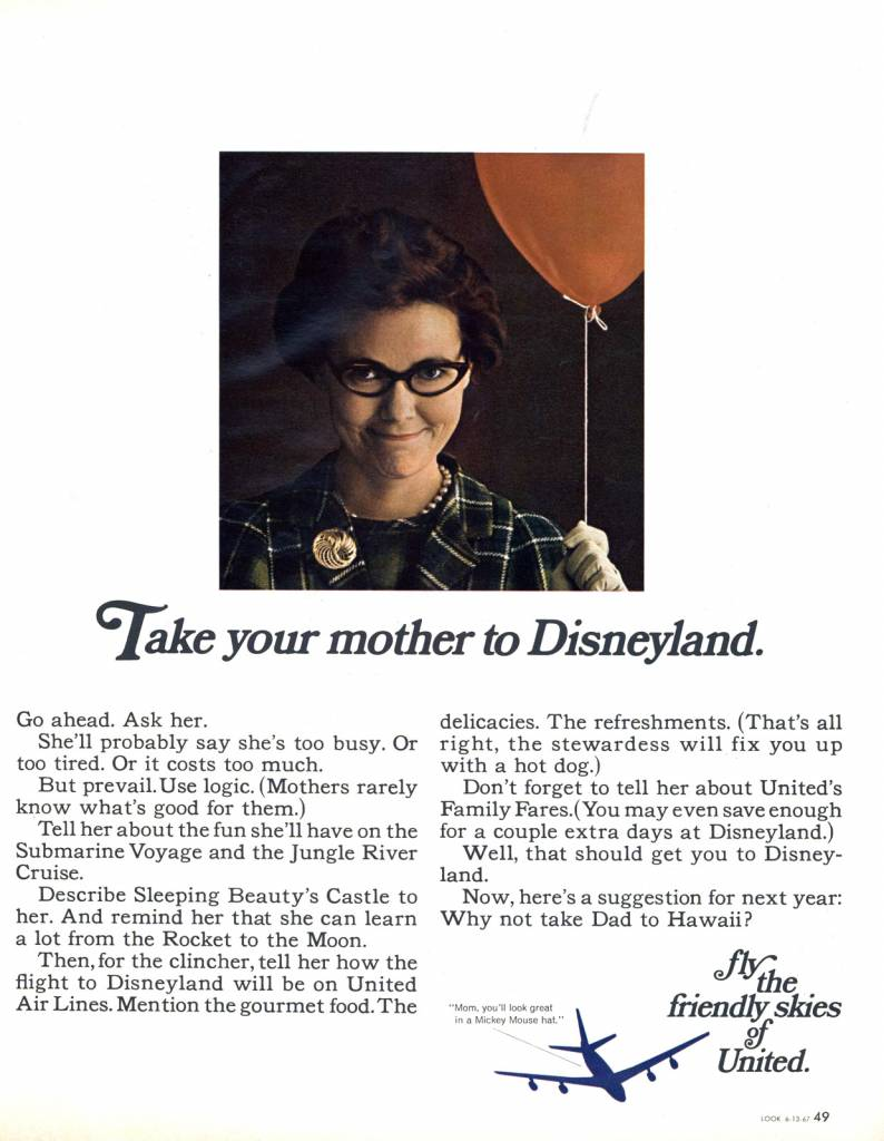 United Airlines 1962 Take Your Mother to Disneyland