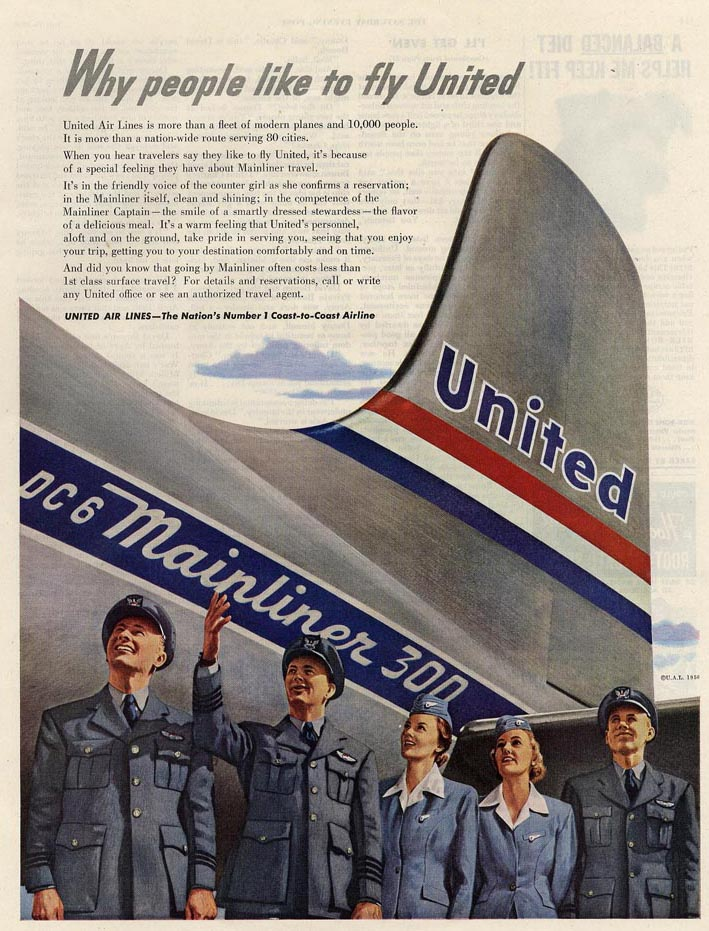 Quot Fly The Friendly Skies Quot United Airlines Ads 1934 1970