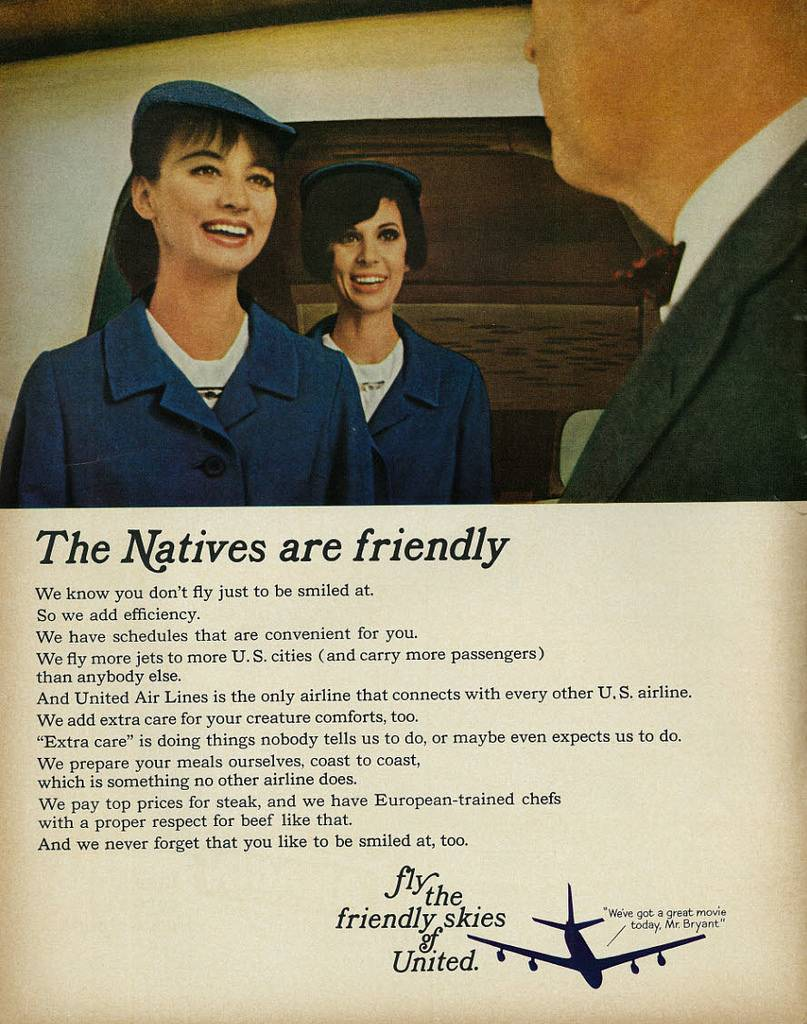 United airlines the Natives are Friendly 1965