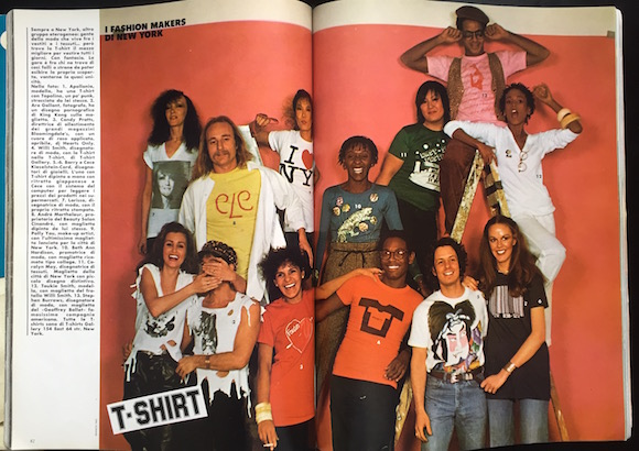 The whole picture: Van Ravenstein and Gallant are bottom left. Also in the frame: Fashion designers Stephen Burrows and the late Willi Smith and actress/model sister Toukie, luxury brand owners CeCe and Barry Keiselstein-Cord and Candy Pratts of Bloomingdales and American Vogue. Photo: Francis Ing, from L'Uomo Vogue, summer 1978