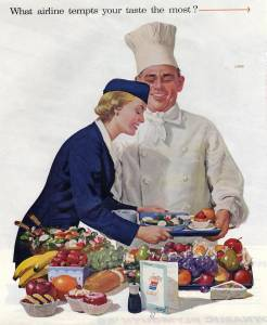 What airline tempts your taste the most, United Airlines, c1955