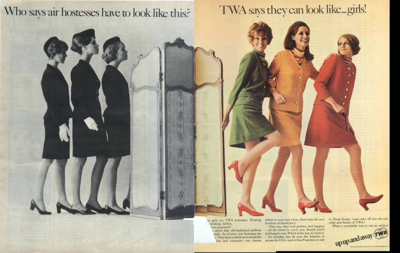 Who says air hostesses have to look like this... TWA says they can look like ... Girls! 1969