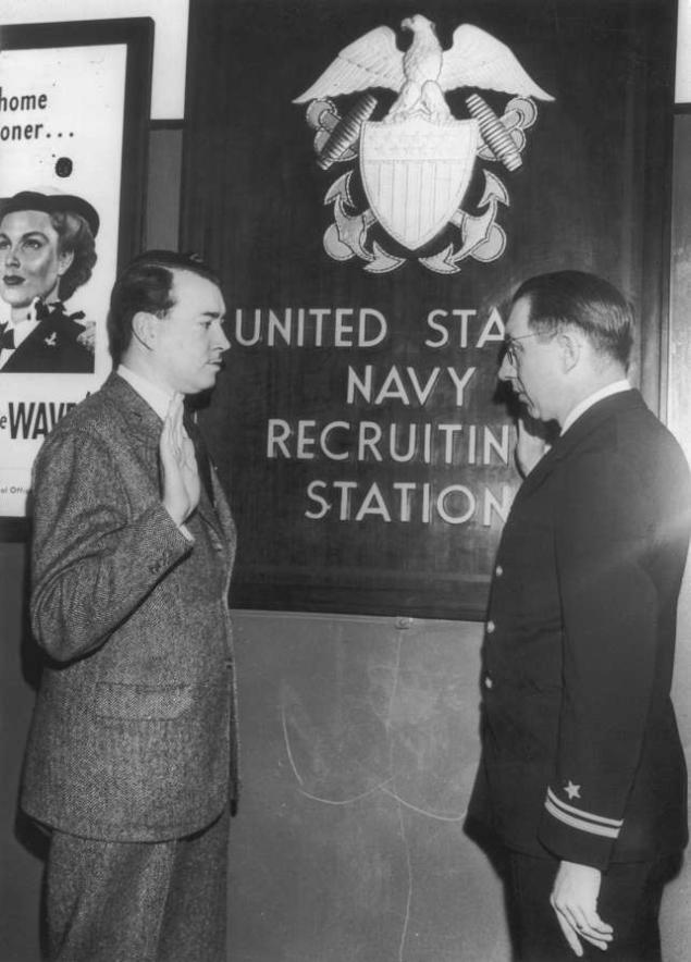 William Patrick Hitler, son of Adolf Hitler's half brother Alois, is sworn into the U.S Navy by Lieutenant Christian Christofferson at a recruiting station in New York City 6 Mar 1944