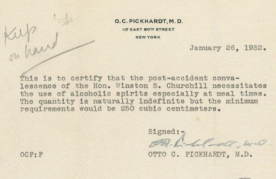 Winston churchill-alcohol-letter 1931