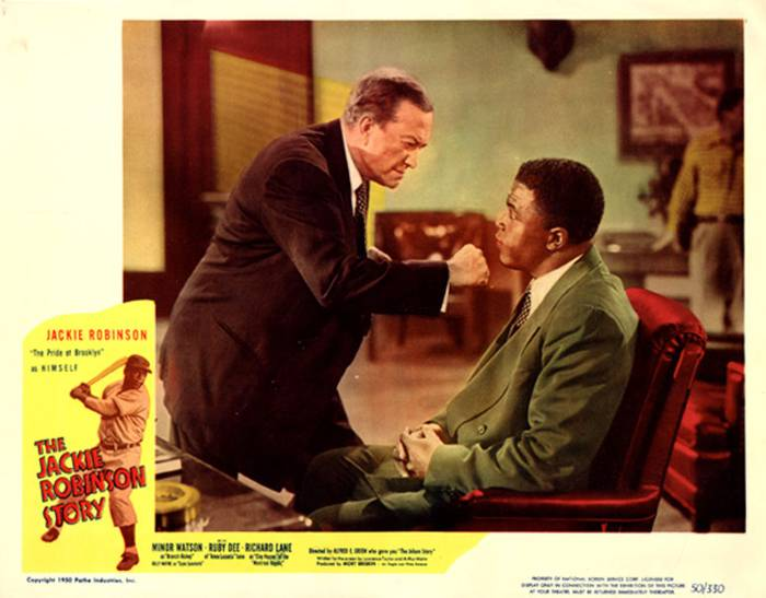 "Robinson played himself and Minor Watson played Dodgers president Branch Rickey in ""The Jackie Robinson Story,"" 1950"