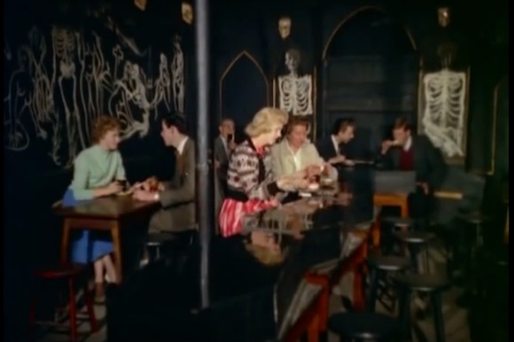 Top, middle and above: Le Macabre scenes in 1959 Look At Life newsreel on Soho's coffee bar boom