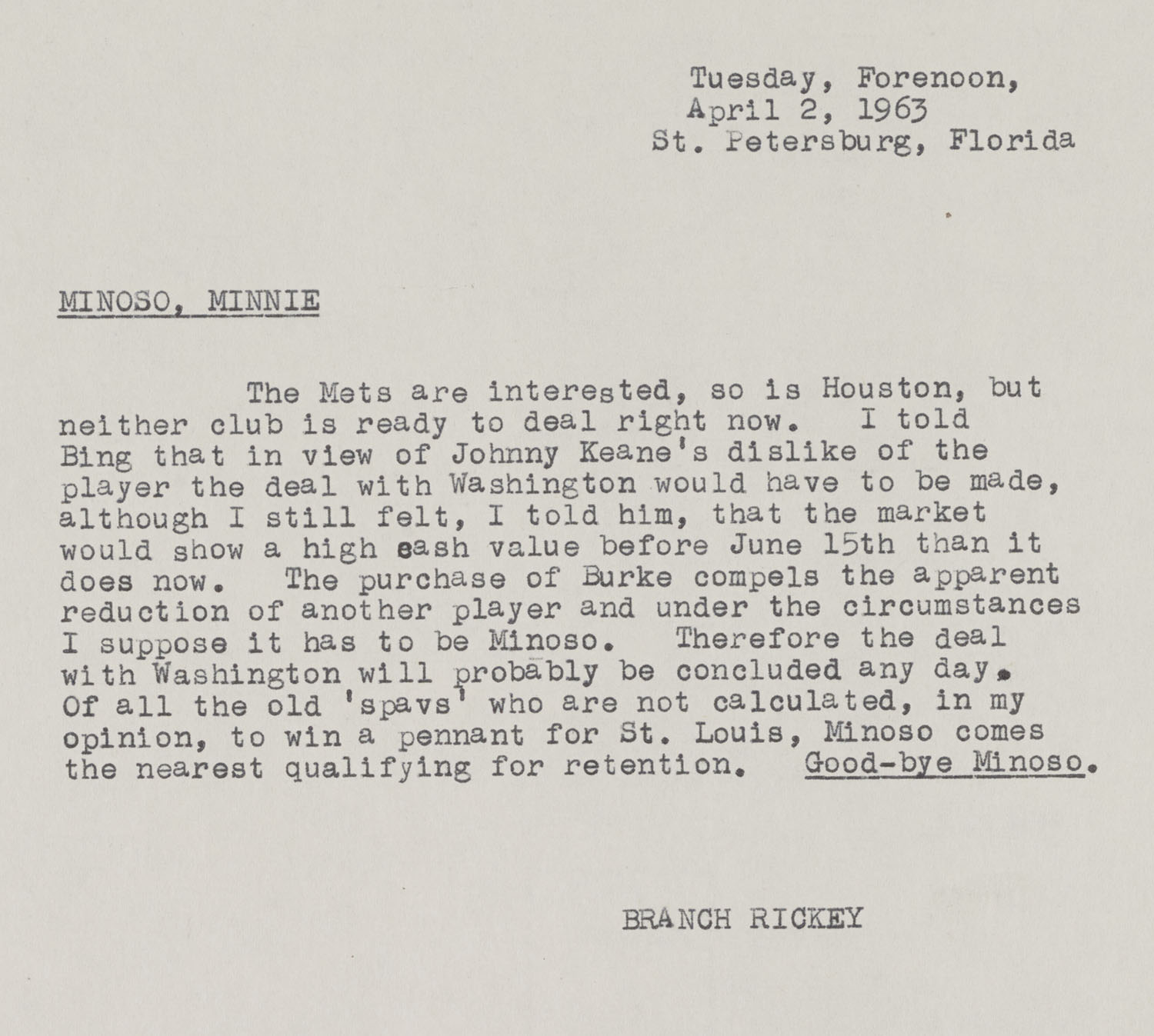 Branch Rickey letters