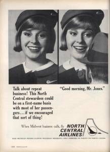 on first name terms with her customers, North Central Airplines, December 1964