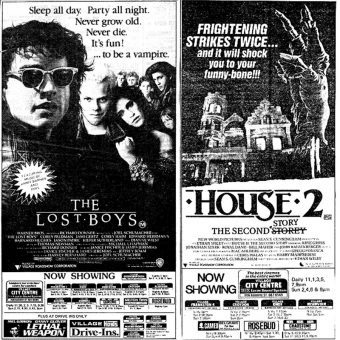 Sci-Fi & Horror Movie Newspaper Adverts from 1986-1987