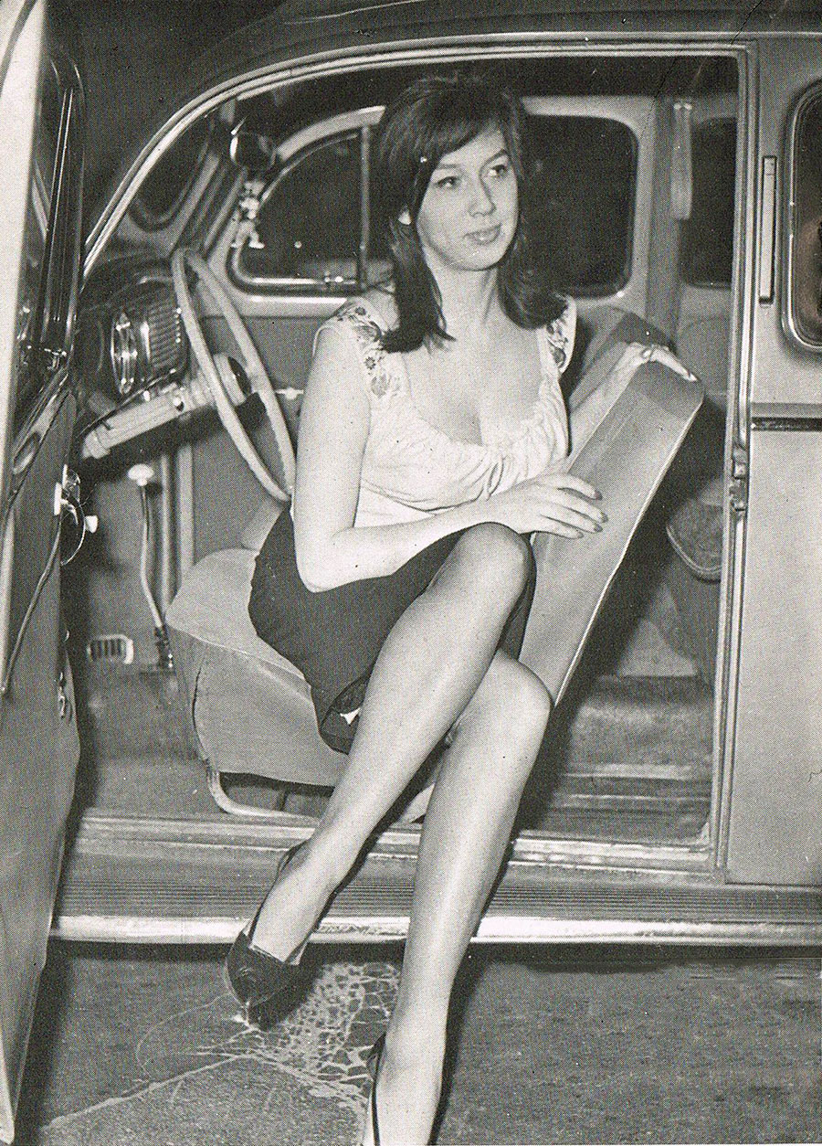 vintage lady getting out of car 3