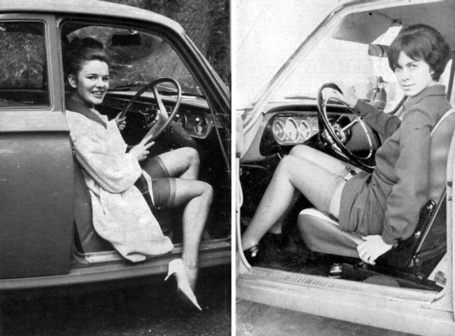 vintage lady getting out of car 4
