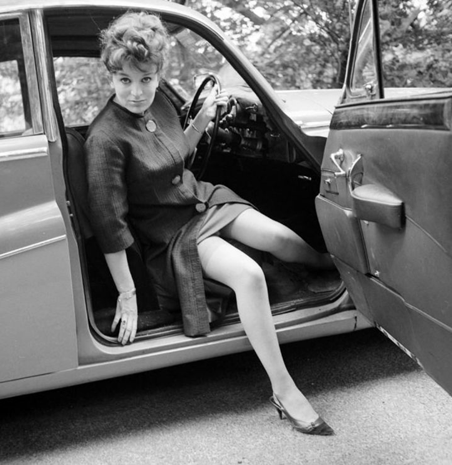 vintage lady in car 6