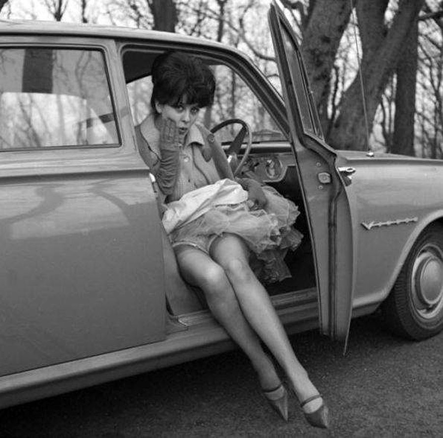 vintage woman in car 3