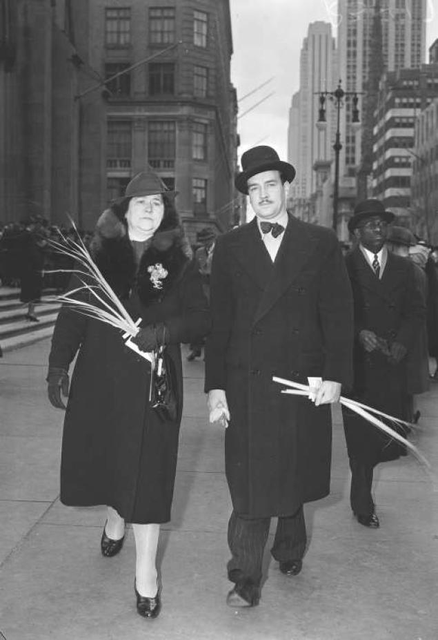 William Patrick Hitler, 28, and his mother, Mrs. Alois Hitler, leave St. Patrick's Cathedral in New York City, April 2, 1939, after attending Palm Sunday services. Hitler says the German chancellor is his uncle.