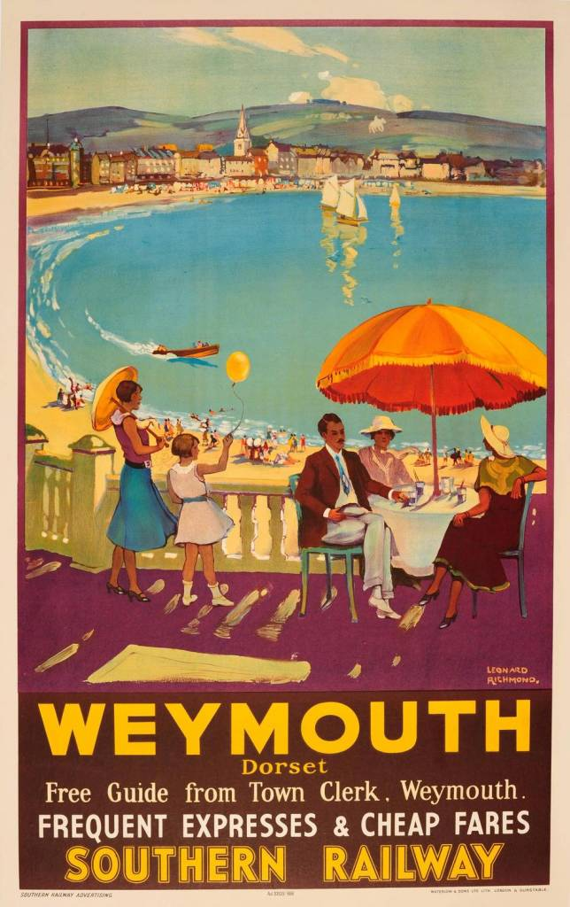 Southern Railway Travel Advertising Poster For Weymouth Dorset 1935
