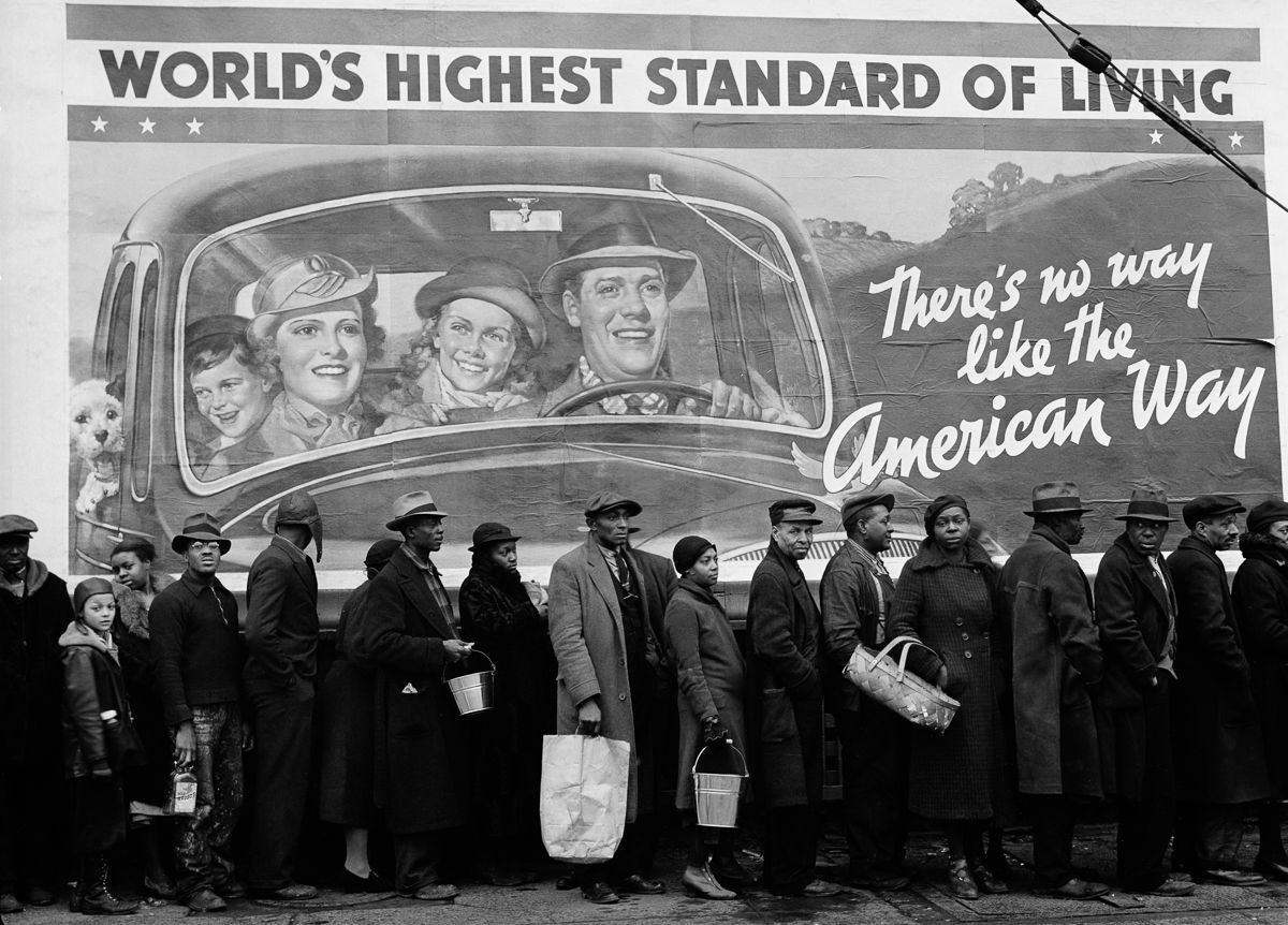 Depression billboards 1937 African-Americans displaced by the Great Ohio River Flood line up at a relief station in Louisville, Kentucky.