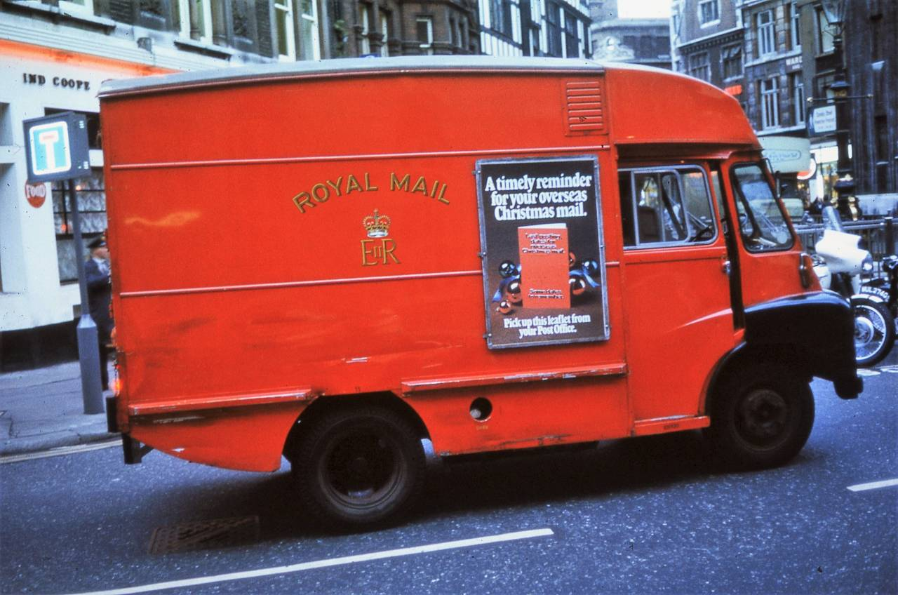 A Royal Mail van, Great Marlborough St:Carnaby St, London 1972