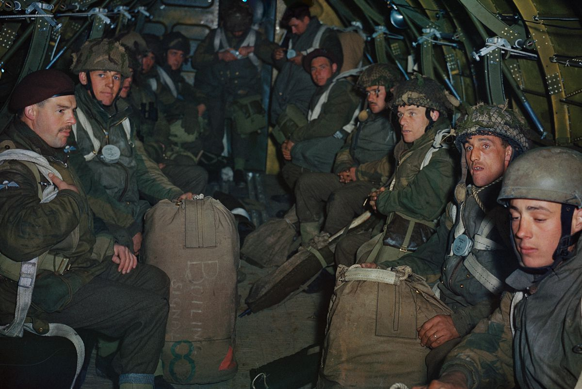 April 22, 1944 British paratroopers prepare for a practice jump from an RAF Dakota based at Down Ampney in Wiltshire.