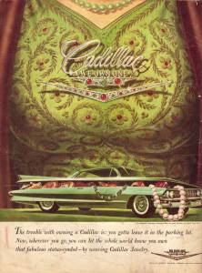 """1961: Frank Kelly Freas, best-known for his science-fiction artwork, created this parody advertisement for Cadillac Jewelry, which was supposed to """"let the whole world know you own that fabulous status-symbol."""""""