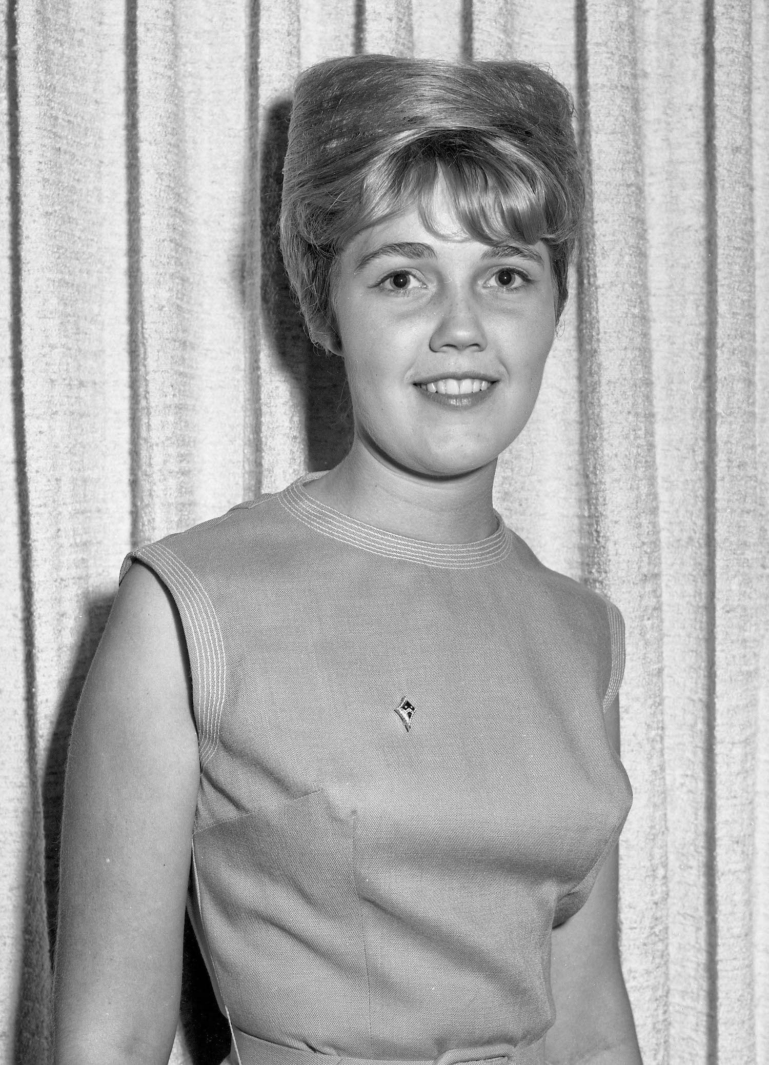 Kathy at spring social, Fresno State College, 1964