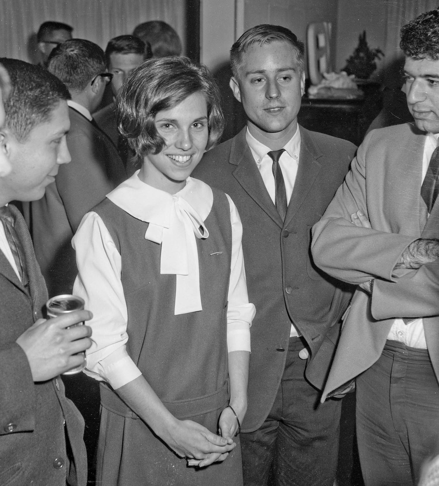 Spring 1964--Student Social, Linda and James with Mike on left and Sam on right, Fresno State College