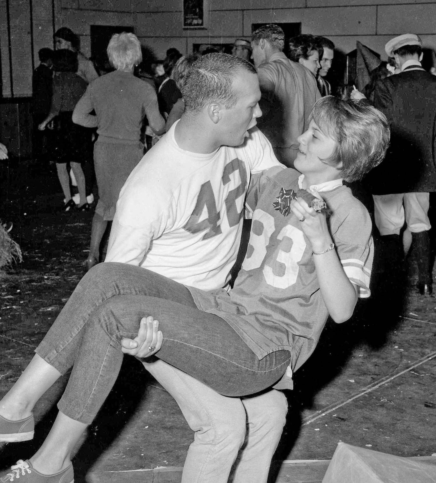 Fresno State College, Dec 13, 1963, costume party, Paul & Bunny