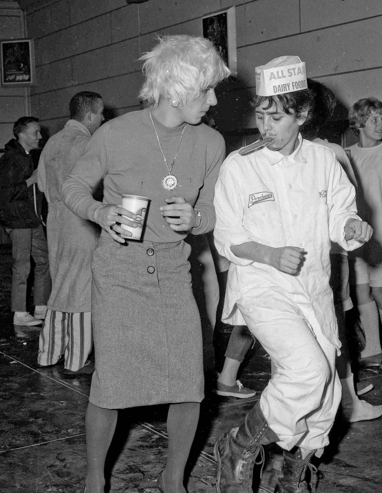 Fresno State College, Dec 13, 1963, costume party, Richard & Rita