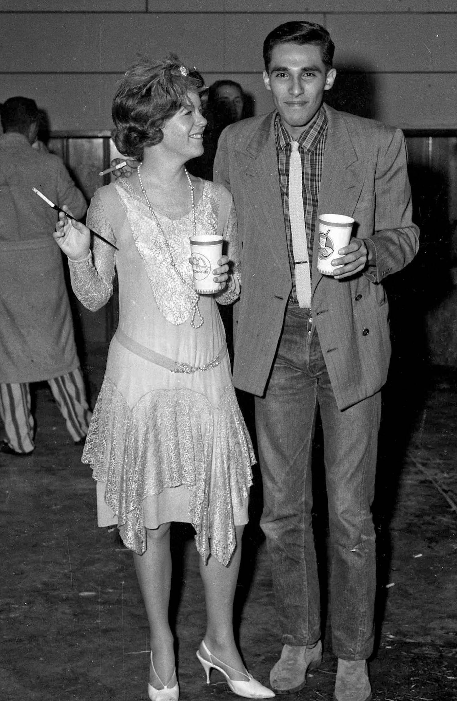 Fresno State College, Dec 13, 1963, costume party, Joe and date