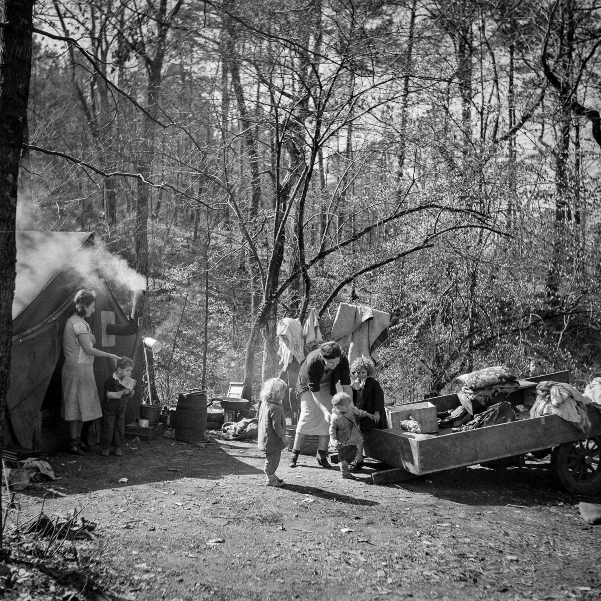 February 1937 A migrant encampment in Birmingham, Alabama