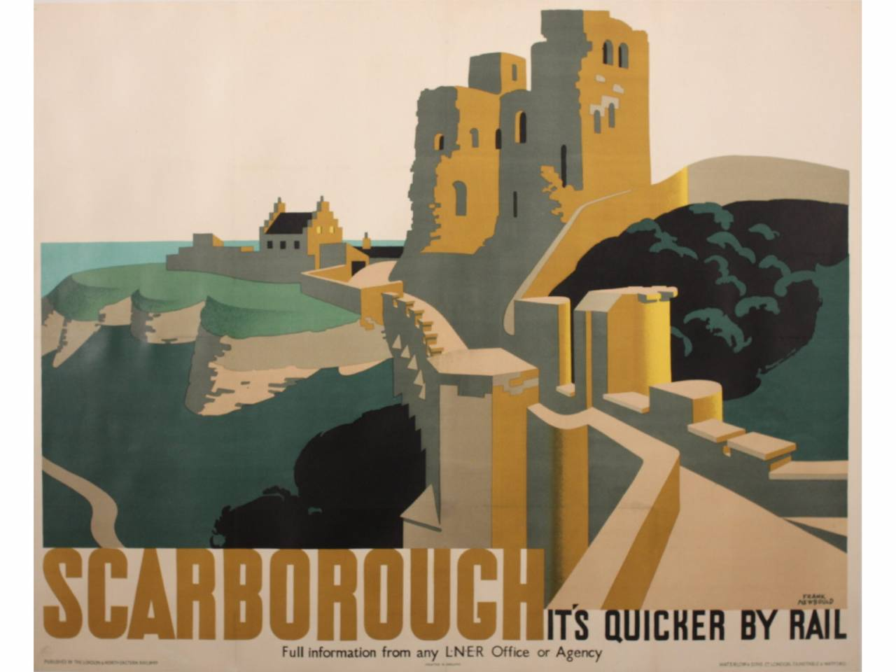 Frank Newbould (1887-1951) Scarborough, original poster printed for LNER by Waterlow c. 1930