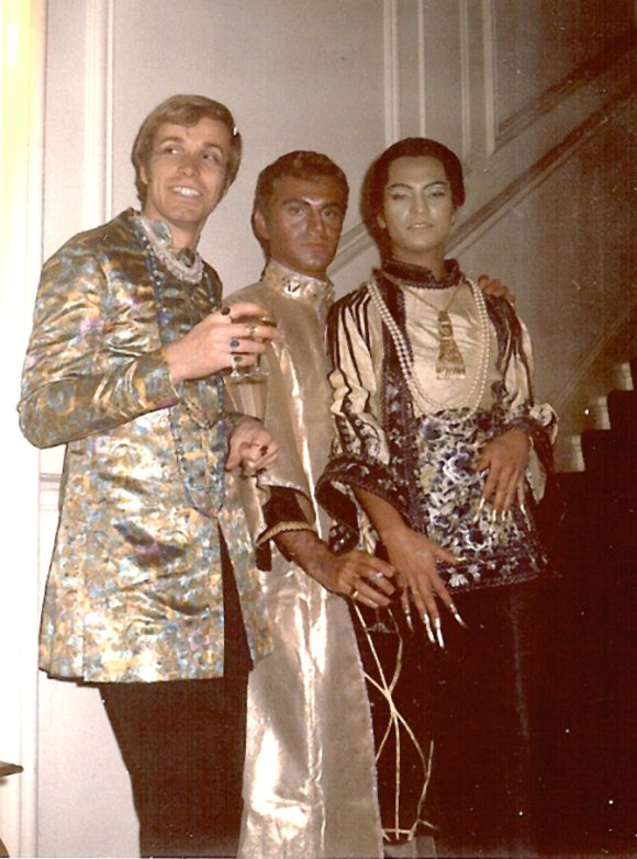 Hochong (right) with friends at a party in London, late 60s