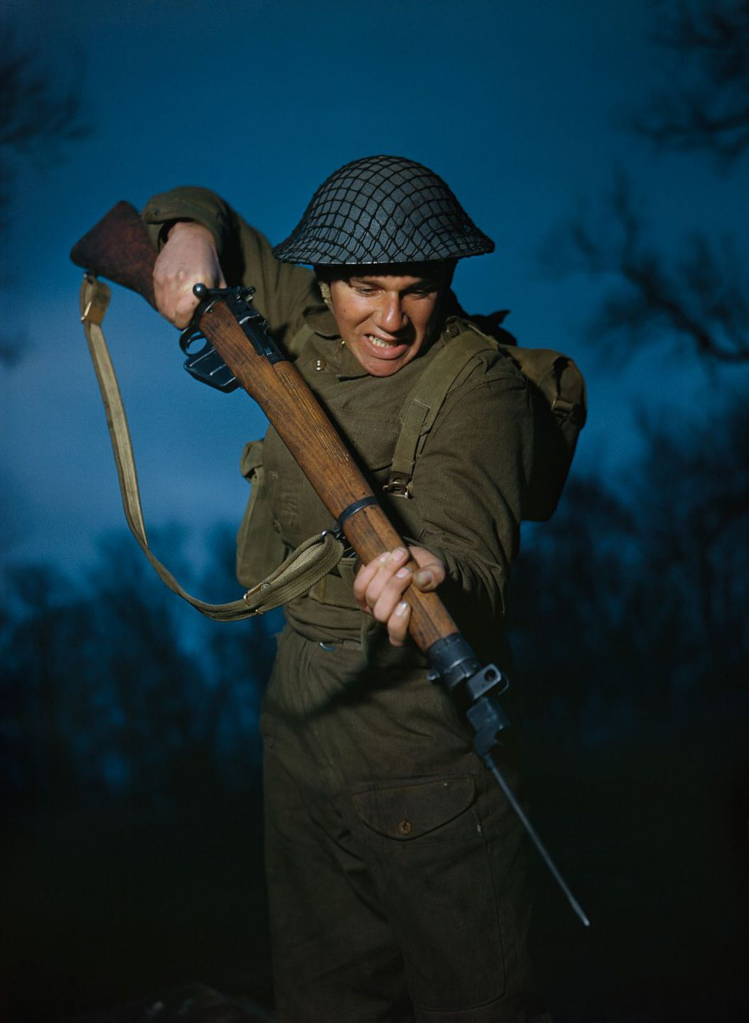 March 1944 Private Alfred Campin of the 6th Battalion, Durham Light Infantry during battle training in Britain.