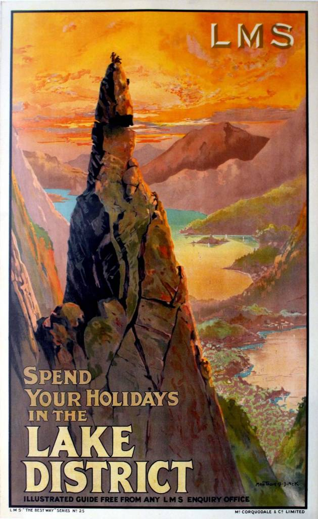 Montague B Black Original 1920s LMS Railway Poster - Spend Your holidays In The Lake District 1920s