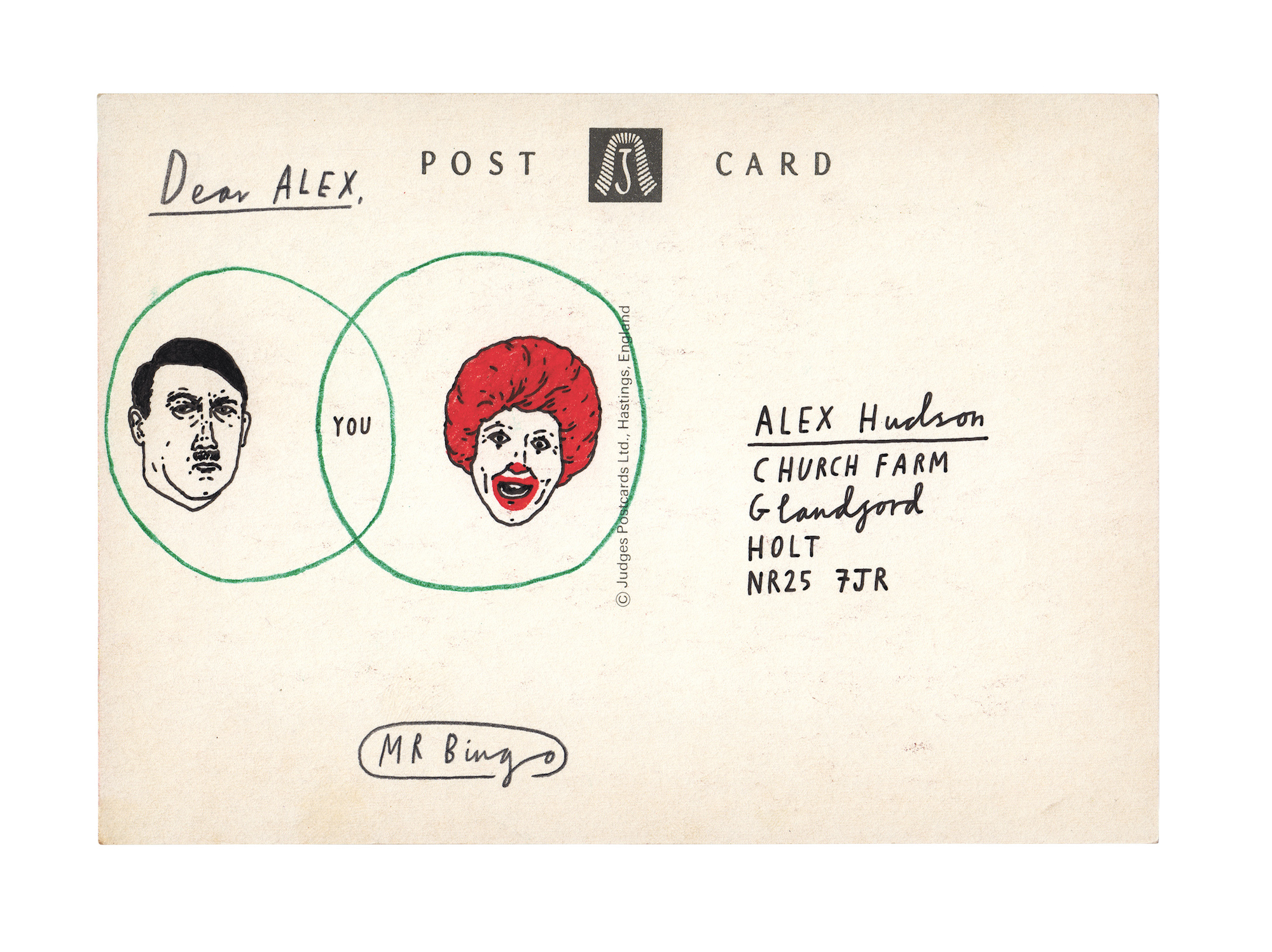 Mr Bingo postcards art illustrations letters