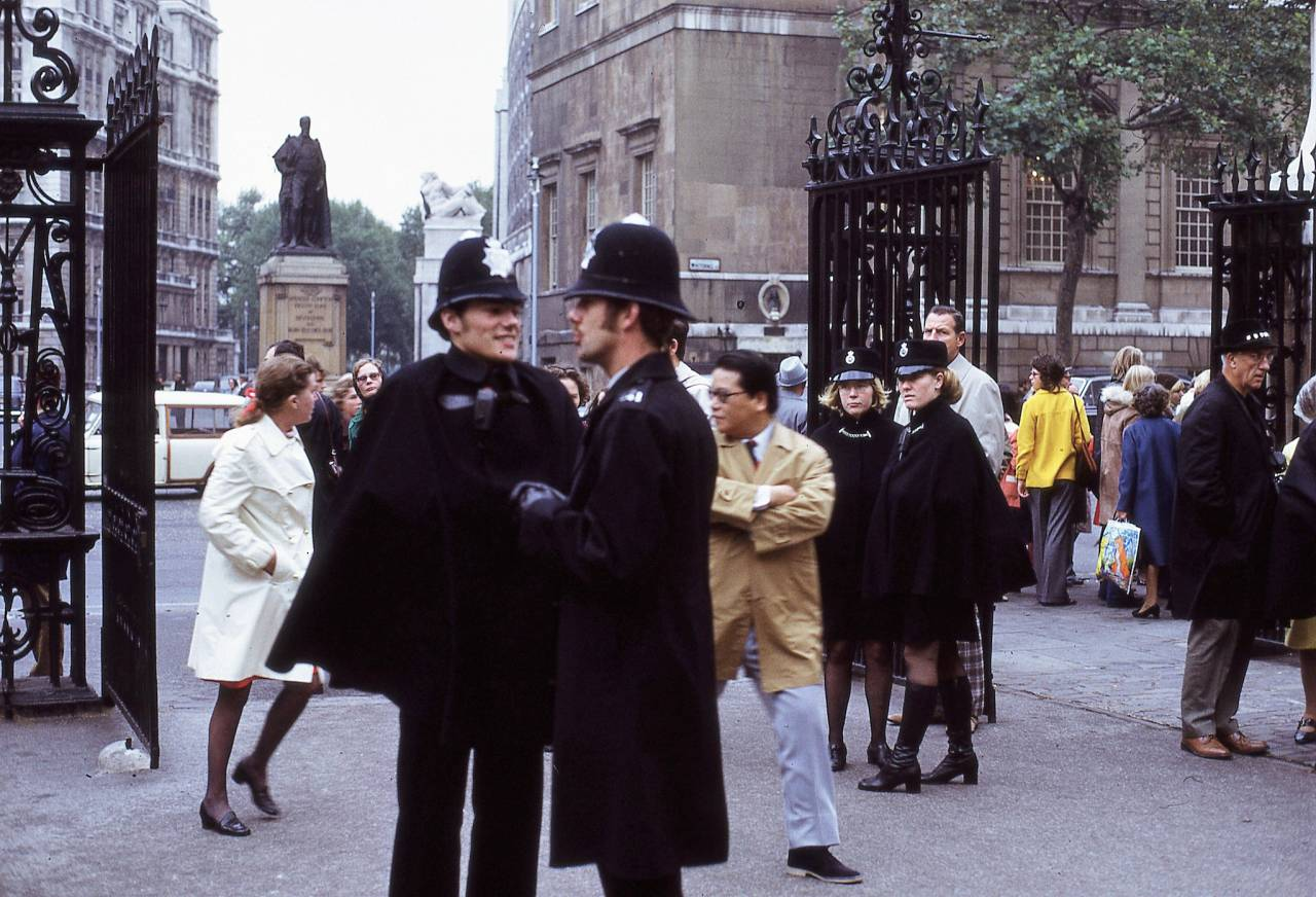 Police in London (taken from inside Horse Guards looking across Whitehall) 1972