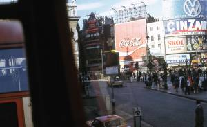 Riding on a bus at Piccadilly Circus, London 1972