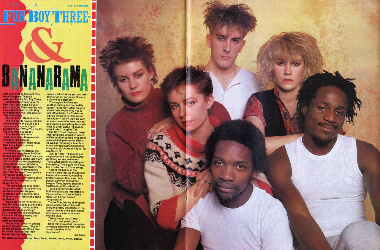 Smash Hits, January 21, 1982 - p.20-21 Funboy Three with Bananarama