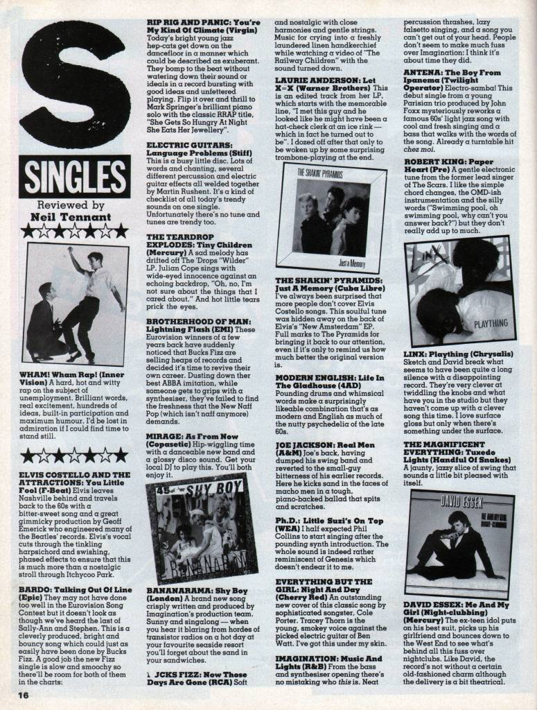 Smash Hits, June 24, 1982 - p.16 review of Shy Boy by Neil Tennant