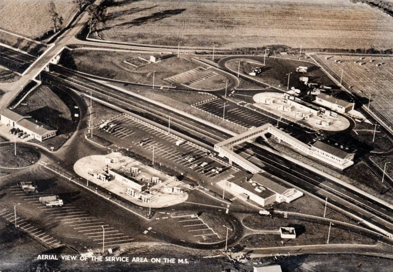 Strensham Services, M5 Motorway (early aerial postcard)