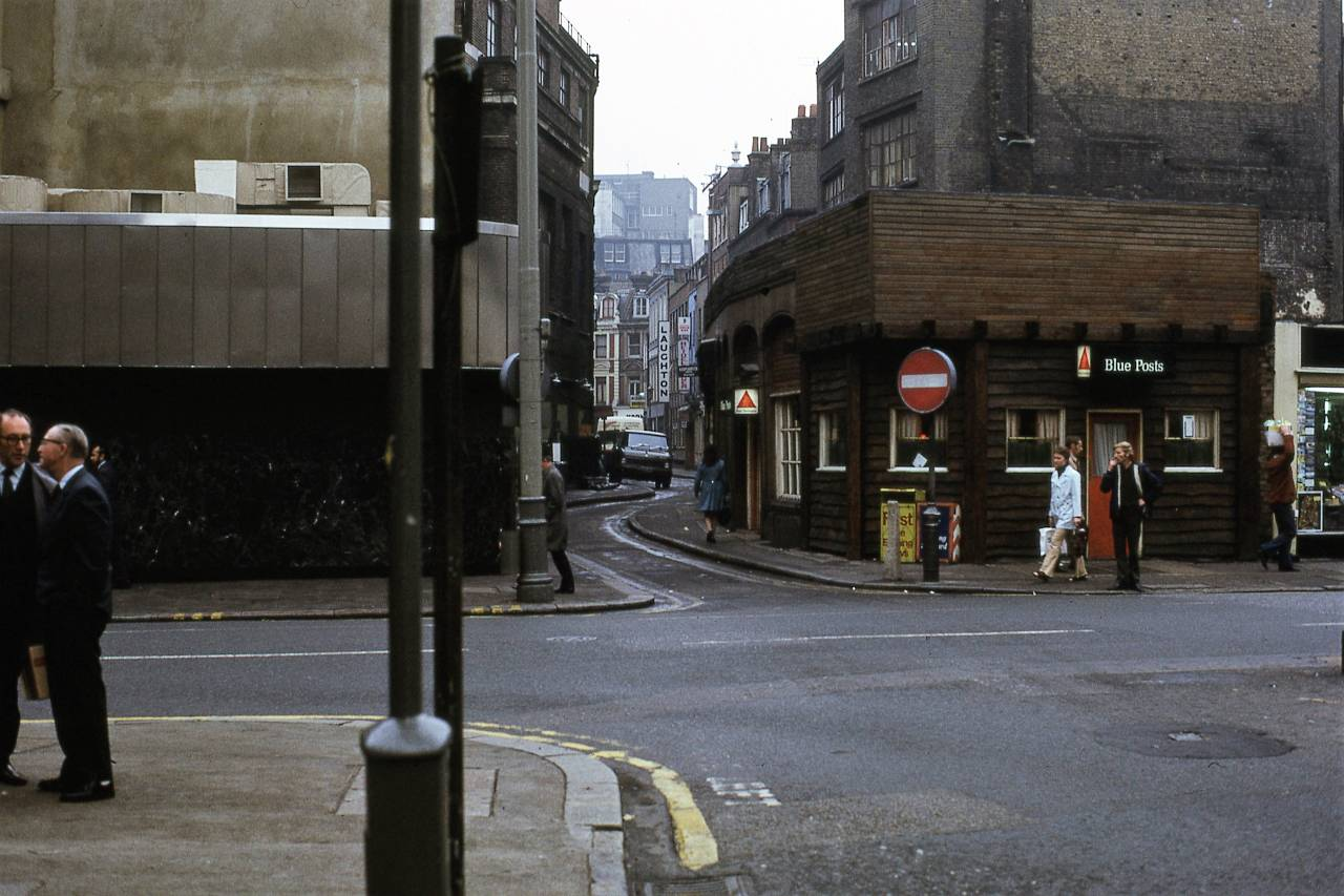 Tottenham Court Road (looking down Hanway Street), London 1972