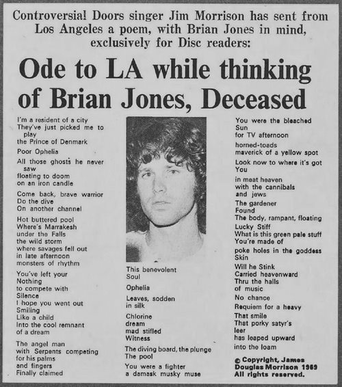 Ode to La while thinking of Brian Jones Deceased