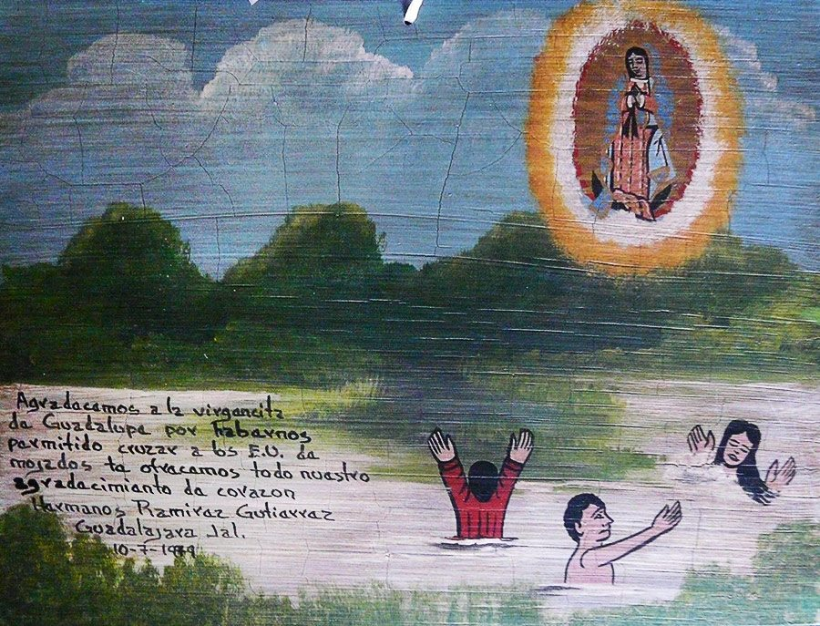 We thank the Virgin of Guadalupe for letting us cross the river and arrive to the USA for work. From the bottom of the heart we offer you this retablo. The Ramiraz Gutierrez family Guadalajara, Jalisco 10 July 1979