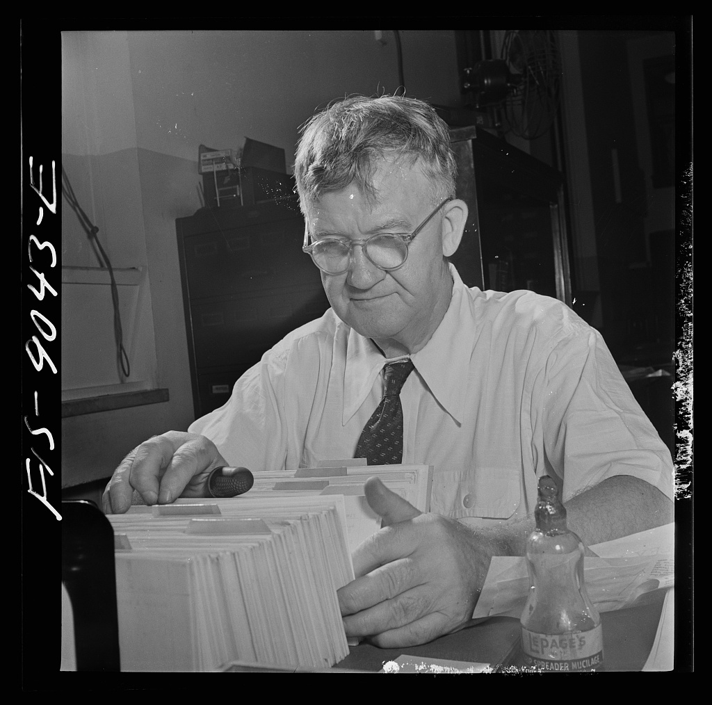 """Morgue"" of the New York Times newspaper. Tommy Bracken, head of this department, has been with paper fifty-one years, is the oldest employee"